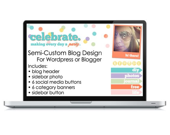 """""""Semi-Custom"""" Blog Design by primpmyblog, via Etsy. Good option if you want to freshen up your blog without a huge investment! $54.00"""
