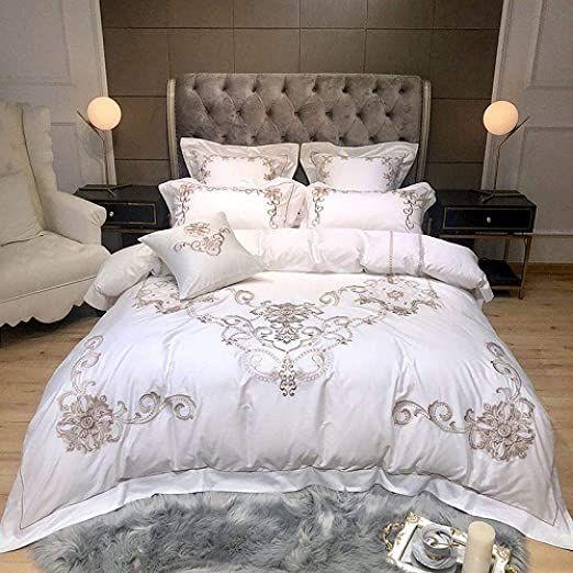 Loikhgv Four Piece Bed Set Premium Embroidery White Duvet Cover Set 4 7pcs King Queen Size Luxury Bedding Luxury Bedding White Duvet Covers Luxury Bedding Sets