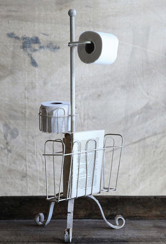 Cottage Metal Bathroom Magazine and Toilet Paper Holder