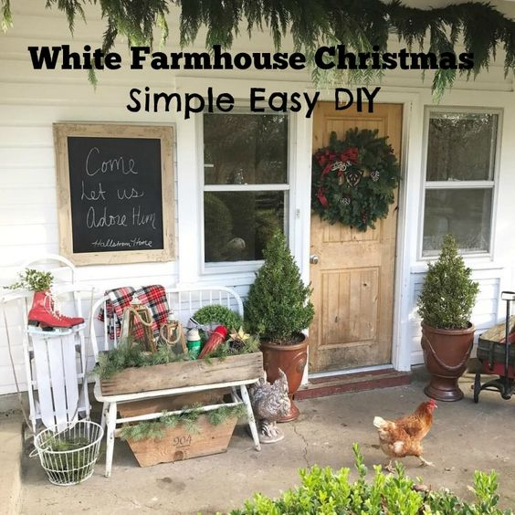 Simple Easy DIY White Farmhouse Christmas Decorating Ideas for the Front Porch  http://www.hallstromhome.com/white-farmhouse-christmas/