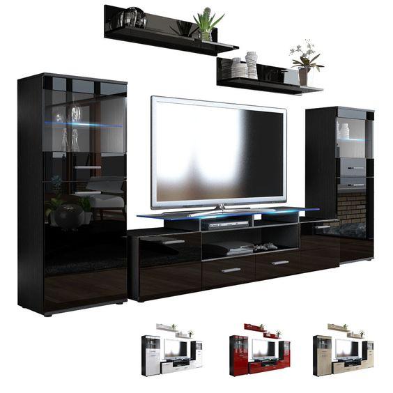 Details About Wall Unit Living Room Furniture Almada V2 Black
