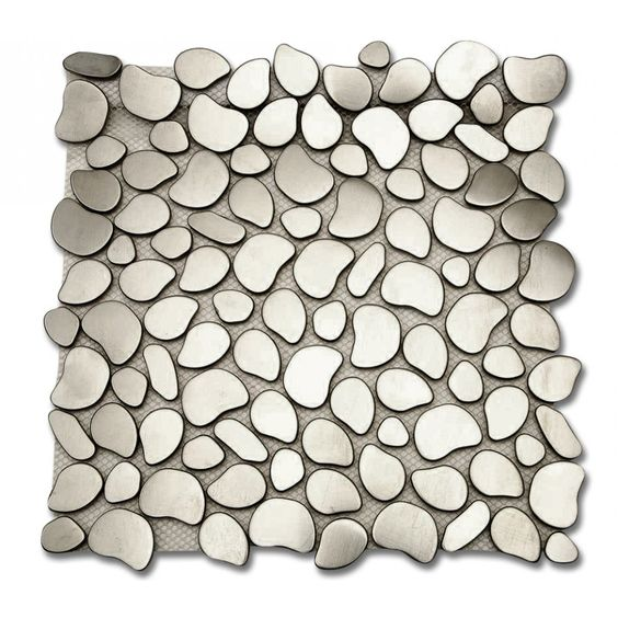 "Shop 11 1/2"" x 11 1/2"" Cobblestone Brushed Matte Metal Tile in Stainless at TileBar.com."
