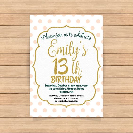 13th birthday invitation Girl Pink gold birthday by CoolStudio