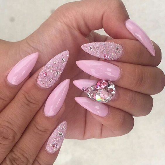 Crystal Gel Nail Video: @dolly_nailss Pretty In Pink Extension: Acrylic Gel