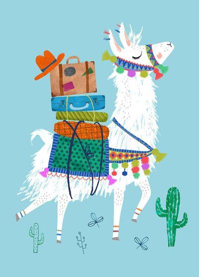 print & pattern blog - psikhouvanjou : Rebecca jones llama postcard