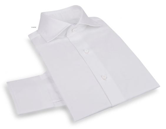 Luxire dress shirt constructed in Lustrous Fine White: http://custom.luxire.com/products/lusterous-fine-white  Consists of English spread collar and 2 button cuffs.