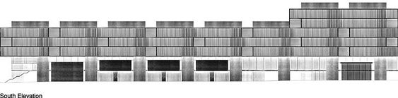 South Elevation - Cornell University New School of Architecture Competition Entry / P. Zumthor