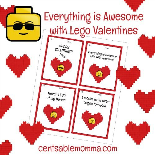 FREE Printable LEGO Valentine's Day Cards   Valentine day ...