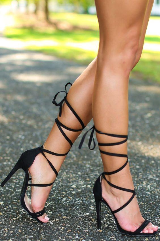 Ooh La La Black Lace-Up Heels at reddressboutique.com
