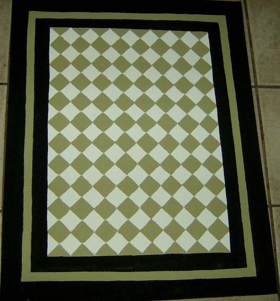 Sage Green And Black FLOORCLOTH / French Country / Painted Canvas Rug / Diamond Pattern / 4'x6