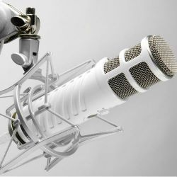 Gorgeous white USB microphone - made by Rode so know it's really going to work, but looks amazing, especially if you are colour coding your recording studio Record Guitar on a PC computer, Laptop, iPad or Mac #recordingtips #microphone #homestudio
