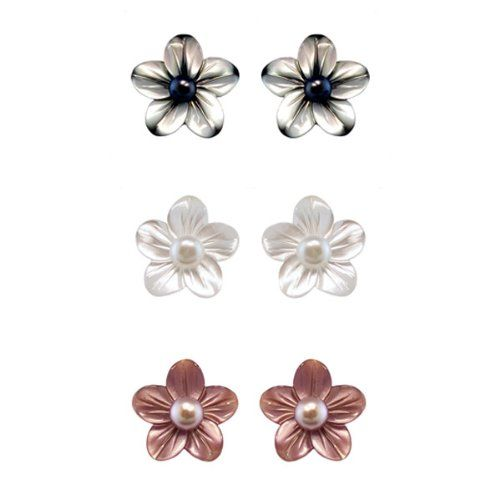 $54.00 5-6mm, White Freshwater Pearl Stud Earring in 14K Yellow Gold with 3, Interchangeable Mother-of-Pearl Flowers in Black, White, and Pink SET-392Y