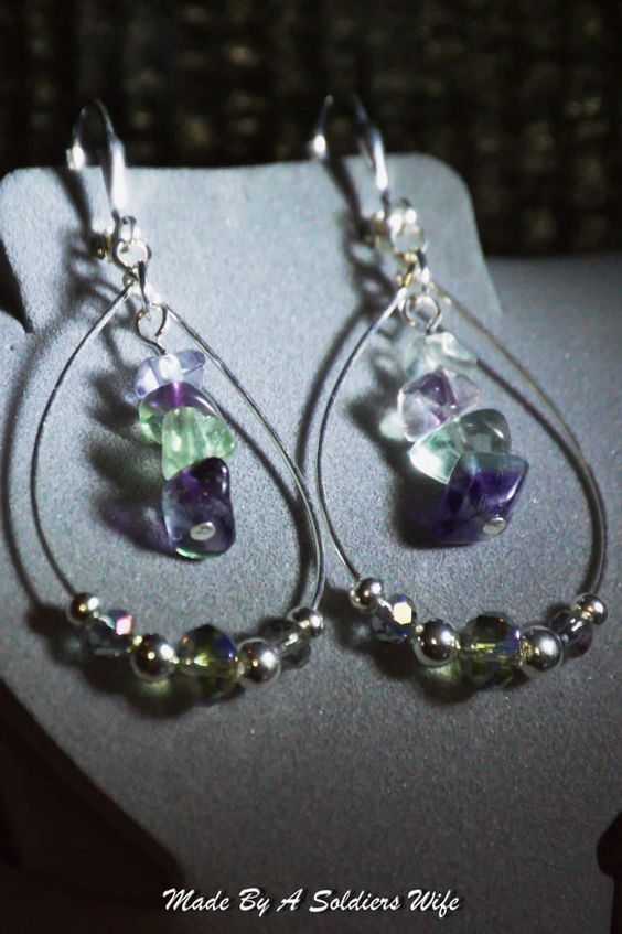 Multi-Fluorite Dangle Earrings by MadeByASoldiersWife on Etsy