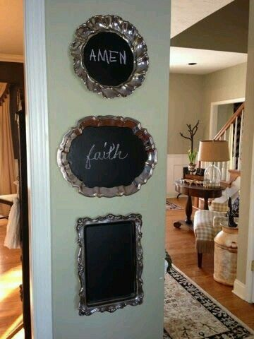 Black chalkboard paint on silver trays...cute idea!