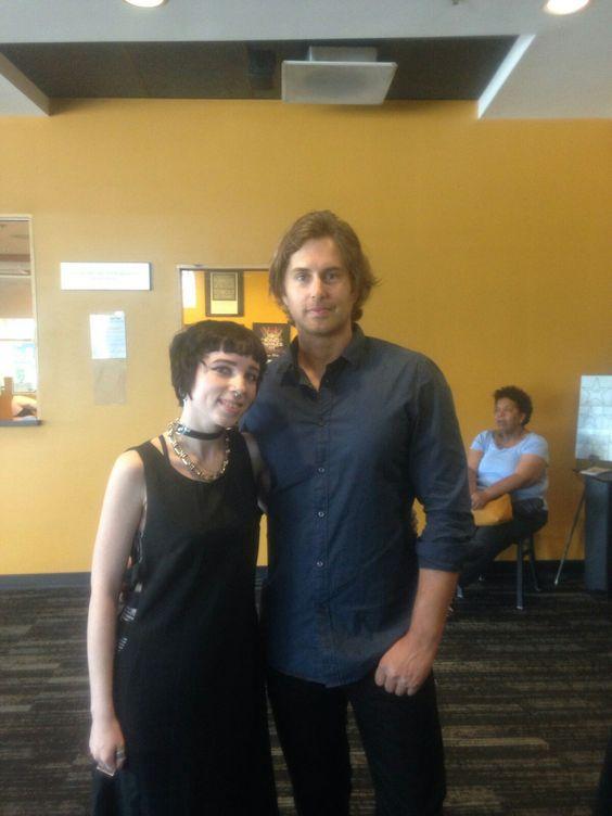 "Chloe Mesler with Greg Sestero of the film, ""The Room. """