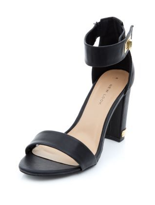 Black Metal Tab Ankle Strap Block Heels | New Look | Super stylin