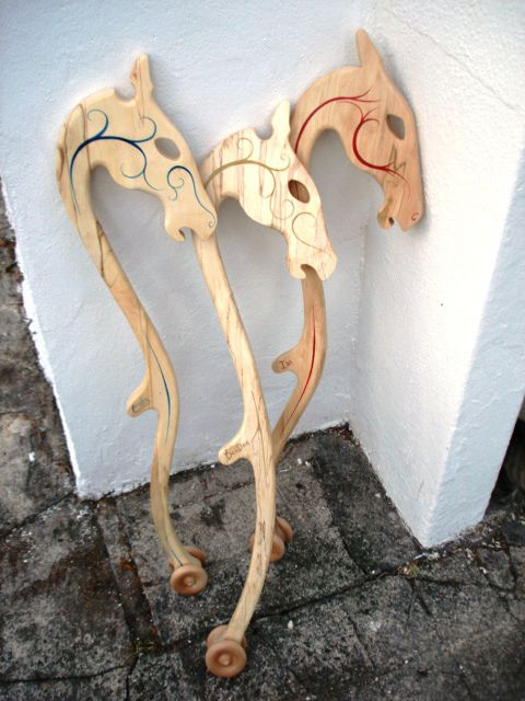 Hobby horses made by a craftsman in Ireland. Makes hobby dragons too. Beautiful!