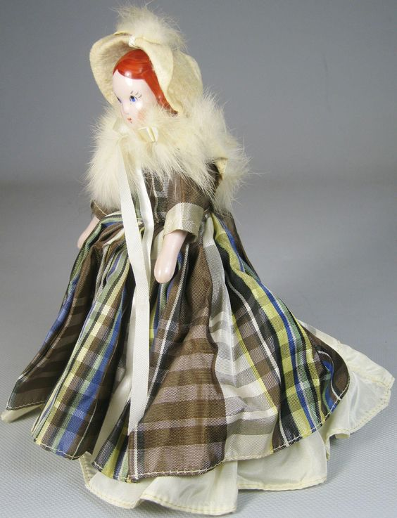 "1940's Vintage 7""  Ruth Gibbs Pink China Godey's Little Lady Doll Red Hair"