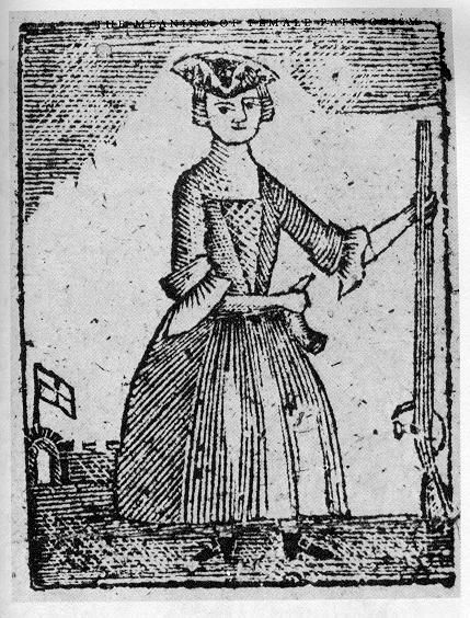 """Woodcut of an armed female combatant from """"A New Touch on the Times"""" circa 1779. #americanrevolution #women"""