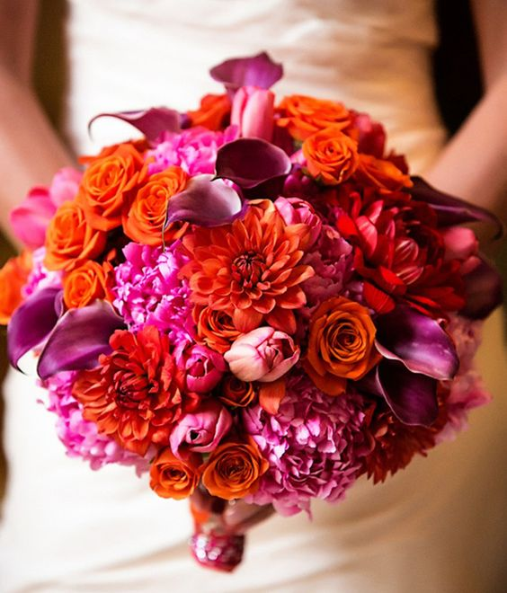 bouquet de mariee orange et fushia arums callas framboise pivoines fushia rose orange. Black Bedroom Furniture Sets. Home Design Ideas