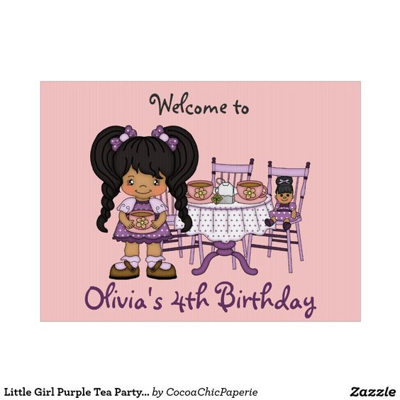 Little Girl Purple Tea Party Yard Sign