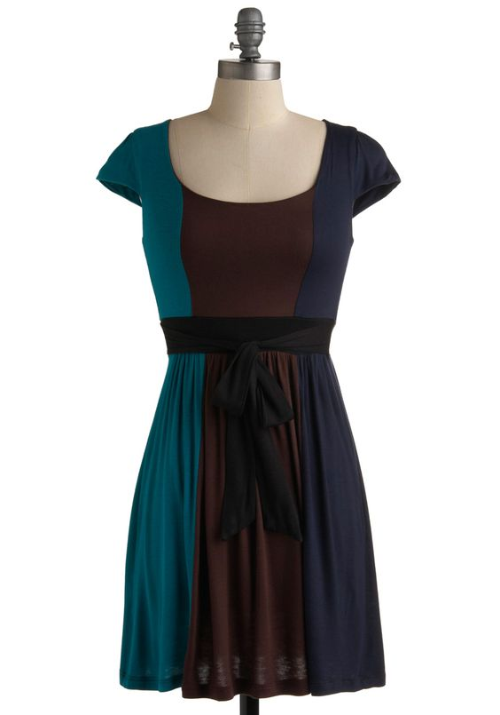New Girl on the Block Dress - Blue, Brown, A-line, Black, Casual, Cap Sleeves, Fall, Short, Work