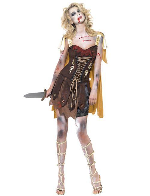 Zombie Gladiator Halloween Damenkostüm braun-gold gladiatorin