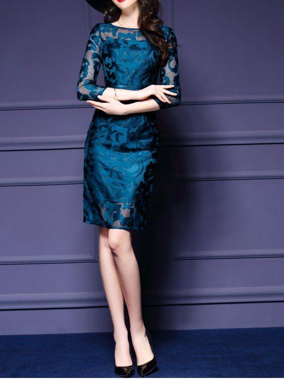 فستان شفاف مطرز الطاووس الأزرق S Dresses Slim Dresses Casual Long Sleeve Bodycon Dress
