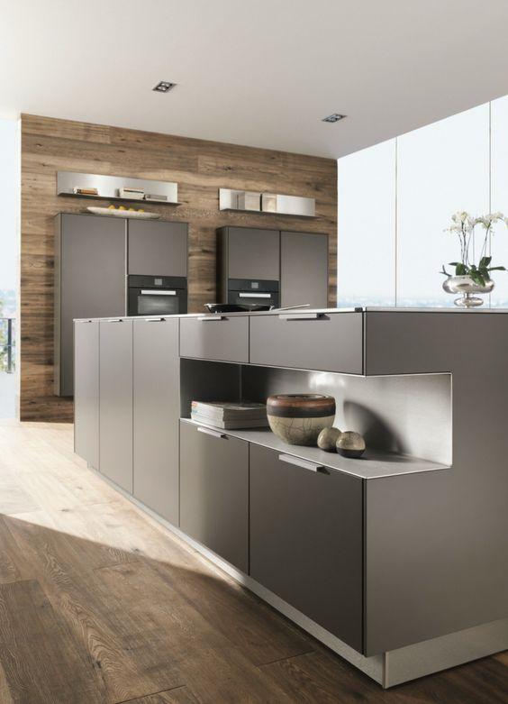 Moderne Küche in Schwarz und Weiss u201eNewYork nero Modena Eiche - küchenzeile weiß hochglanz