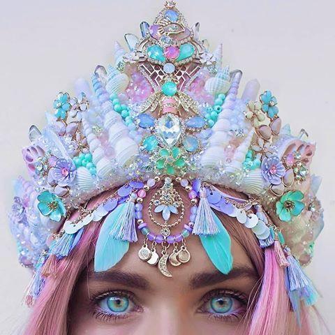 Pastel Elven Crown with Crystals- Pastel Fantasy Headband Fantasy Costume Accessories crone Crystal Crown Crystal headpiece