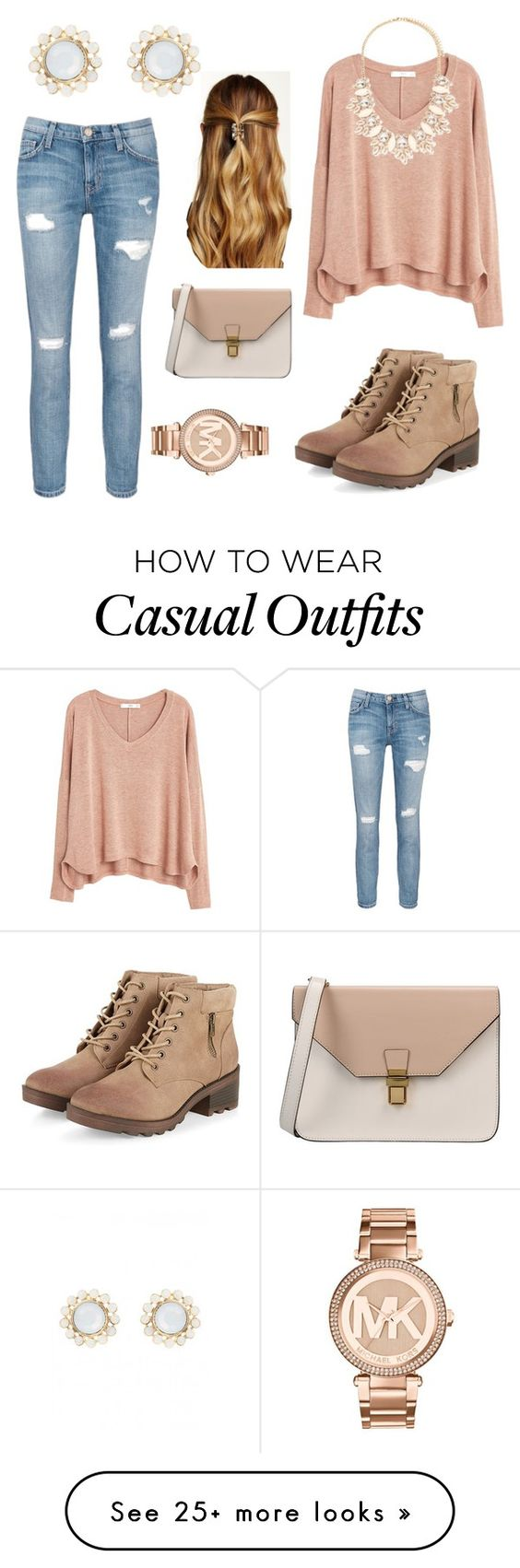 """""""Casual Beauty"""" by amanda-013 on Polyvore featuring MANGO, Forever 21, Michael Kors, Natasha Accessories, 8 and Current/Elliott"""