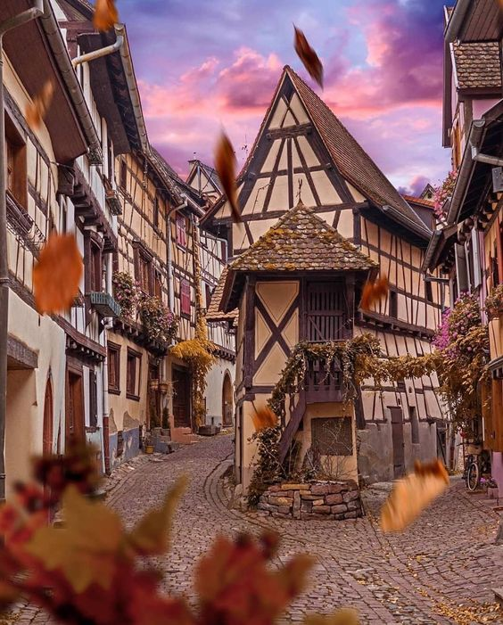 Fall in the village ~ Eguisheim, Alsace, France Phot