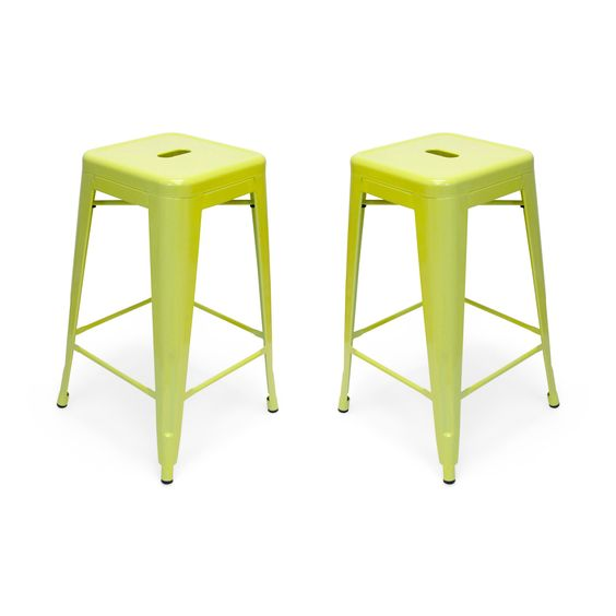 TheseRetro Counter Stools effervescent color and industrial appeal make them stand out from the lot. These counter stools are perfect for anywhere you want to inject bold color and style.  Find the Retro Counter Stool-Set of 2, as seen in the Counter Stools Collection at http://dotandbo.com/category/furniture/stools/counter-stools?utm_source=pinterest&utm_medium=organic&db_sku=94769