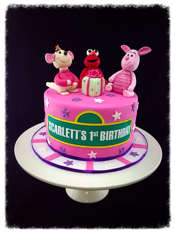 Sesame Street 1st birthday cake with roo, piglet and elmo cake topper