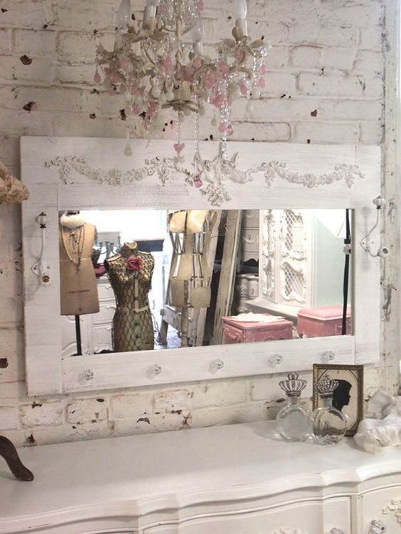 Painted Cottage Chic Shabby Angel Mirror with Hooks MR04