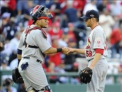Yadi congratulates Joe Kelly after the final out of game 3 in the NLDS....Cardinals Lead series 2-1!!!