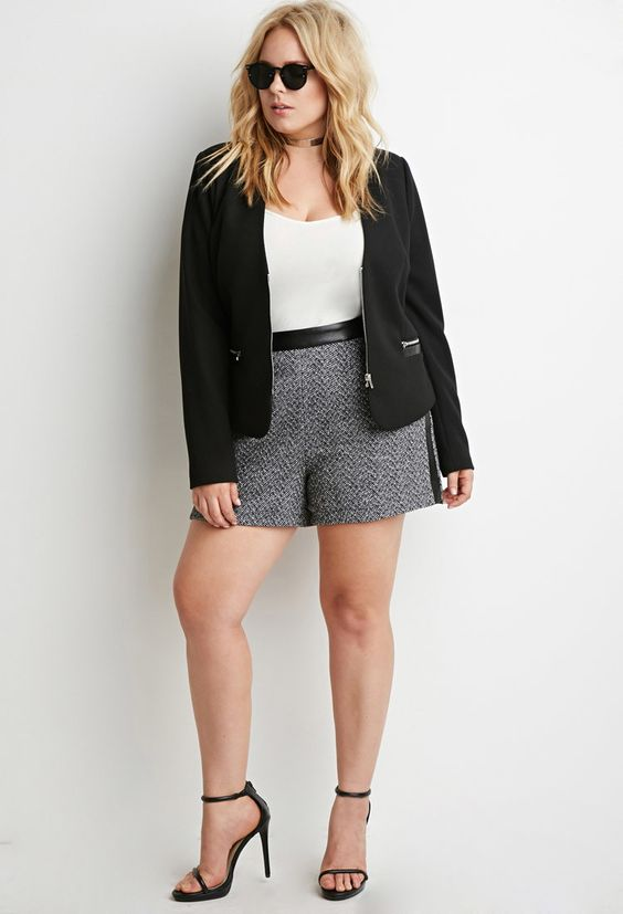Plus Size Faux Leather-Trimmed Tweed Shorts