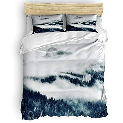 King Size 4 Piece Duvet Cover Set Mist Shrouded Forest Fade Stain