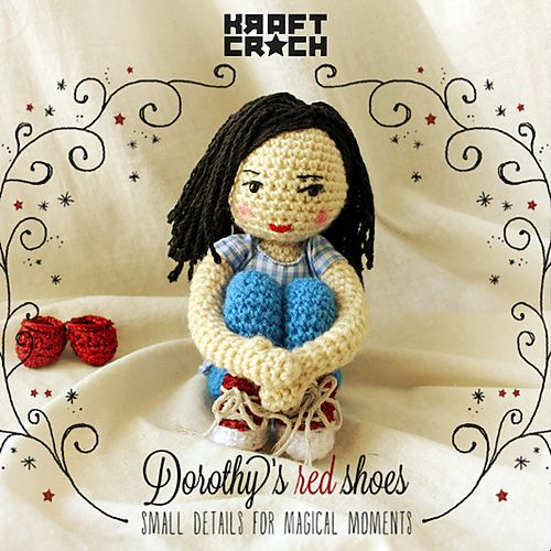 sin patron kraftcroch: ❤ Dorothy's Red Shoes Amigurumi