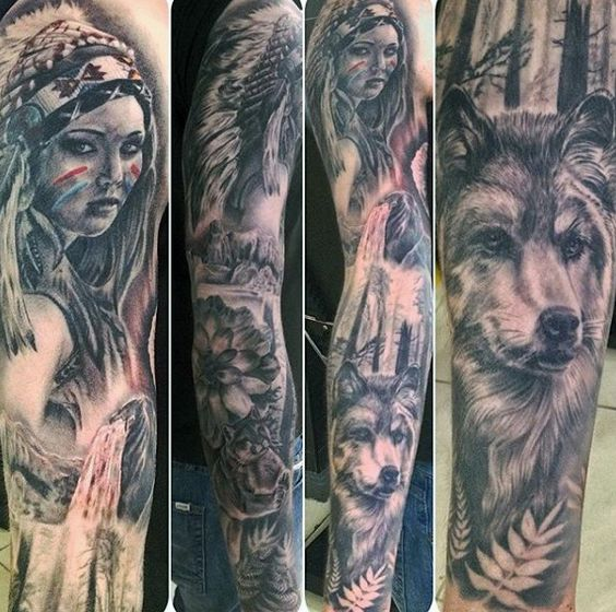 gorgeous-native-american-girl-and-wolf-tattoo-male-full-sleeves.jpg (572×568)