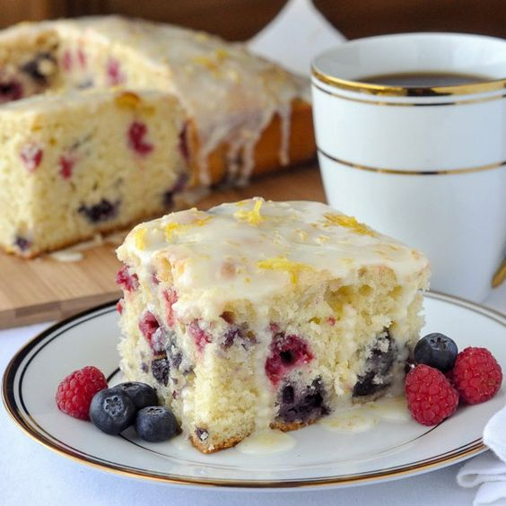 Lemon Drizzle Cake with Blueberries and Raspberries - a quick to make recipe that blends the complimentary flavours of lemon, blueberry & raspberry!!