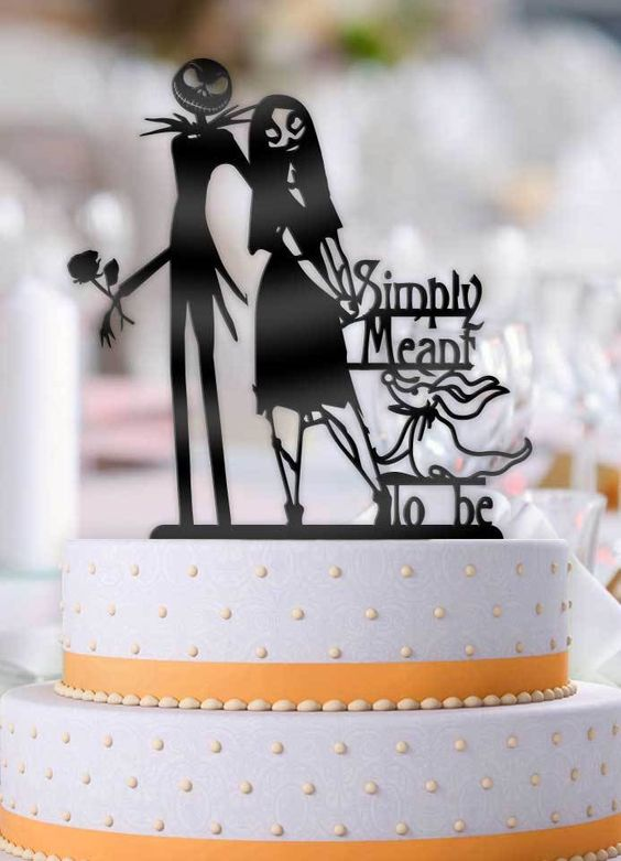 This Jack and Sally Simply Meant To Be with Zero Wedding Cake Topper will be the perfect addition to your cake Our toppers turn an ordinary cake into something that truly stands out and will be a focal point of your celebration Laser-cut from 3 mm Acrylic the highest quality Food Safe Acrylic available Pick the size that best fits your top tier Make a statement with this truly original Topper Dont buy a cheap imitation for the biggest event of your life This design was originally designe