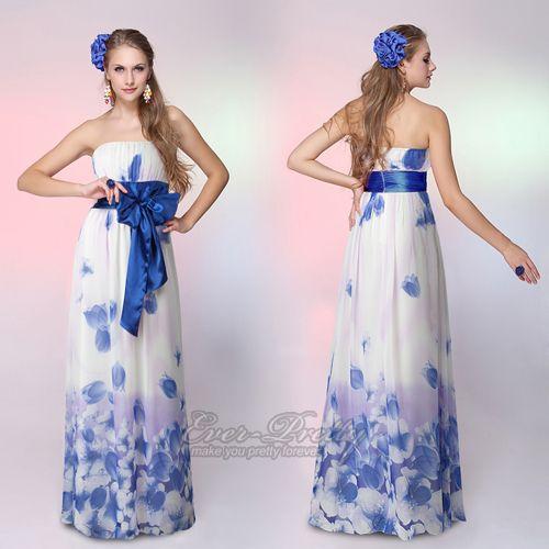 Special Discount  Gorgeous Strapless/ Halter Blue Long Evening Dress $20.99