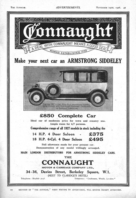 Armstrong Siddeley Autocar Car Advert 1926 - Connaught