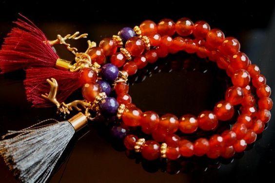 Armband Hirsch Orange - Karneol