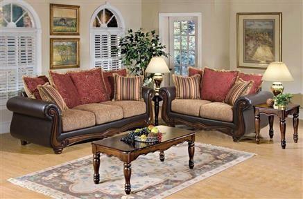 Olysseus Brown Floral Fabric Wood 3pc Living Room Set