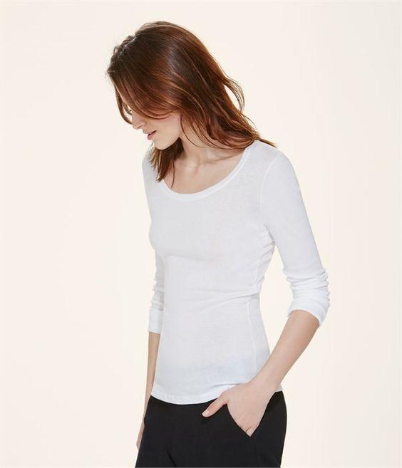T-shirt femme manches longues col danseuse en coton léger