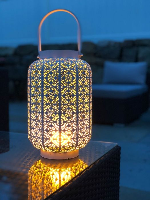 The Torchier Led Simulated White Metal Lantern Fire Effect 12 Inch Rechargeable Metal Lanterns Outdoor Lanterns Battery Operated Candles