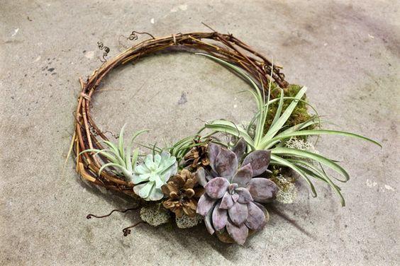 Atelier couronne de vigne avec tillandsias & succulentes