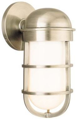 """$401. Groton Antique Nickel 10 1/2"""" High Wet Location Sconce"""